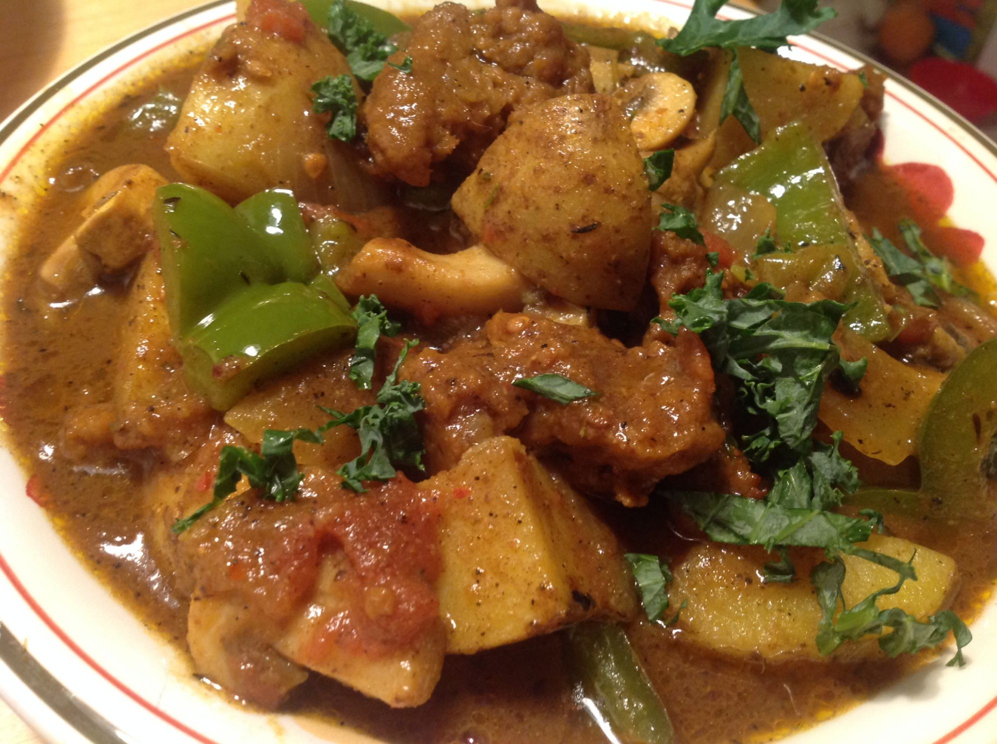 "Vegan Jamaican Curried ""Goat"" Stew with Uptons Naturals Seitan - Vegetarian Recipes Jamaican Style"