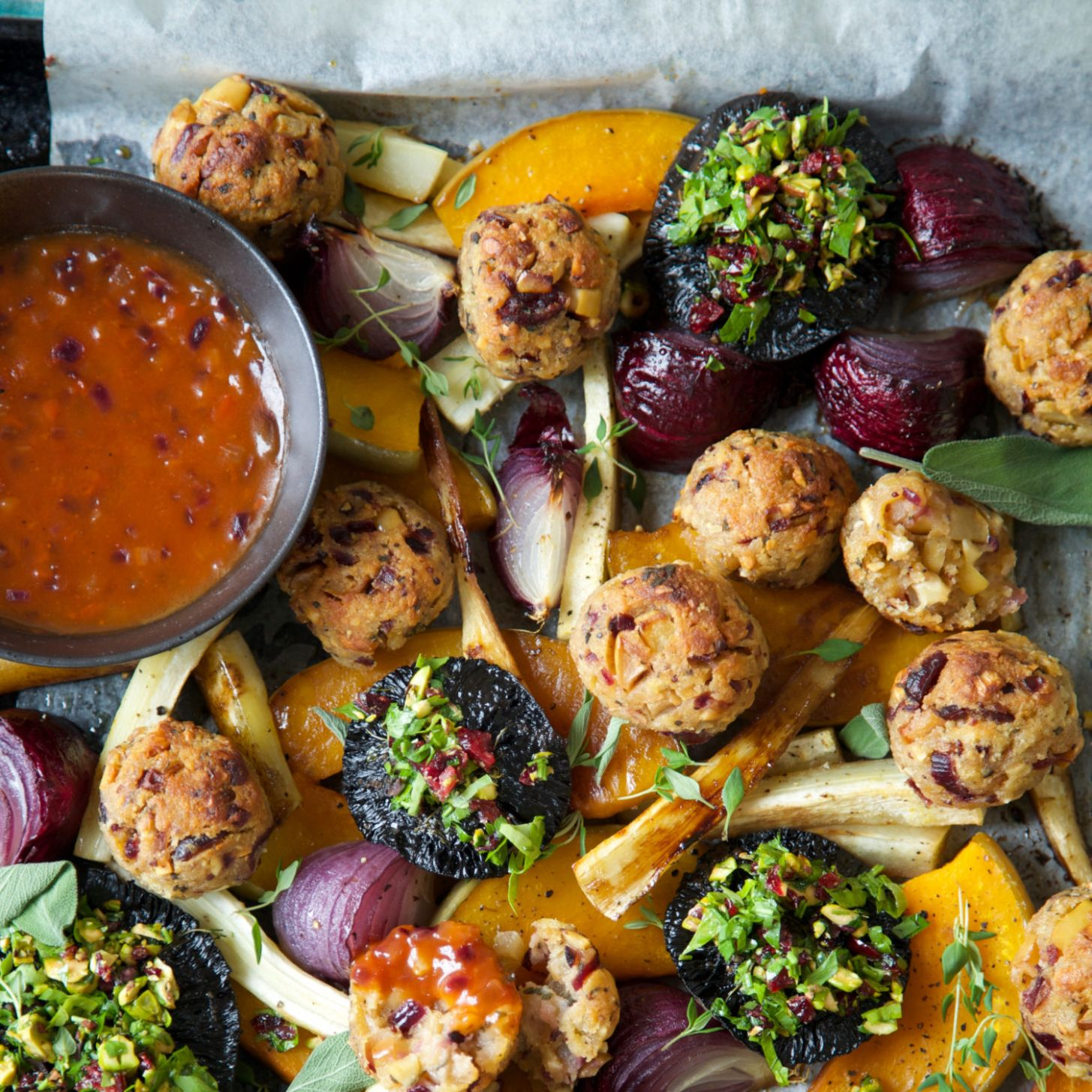 Vegan Roast (or Vegetarian) with Cranberry, Sage and Cashew Nut Stuffing  Balls and Tomato Onion ..