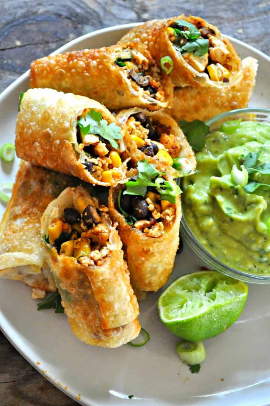 Vegan Tex Mex Egg Rolls - Recipes Using Egg Roll Wrappers Baked