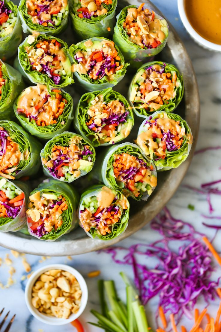 Vegetable Spring Rolls with Peanut Sauce - Vegetable Recipes You Can Make In Advance