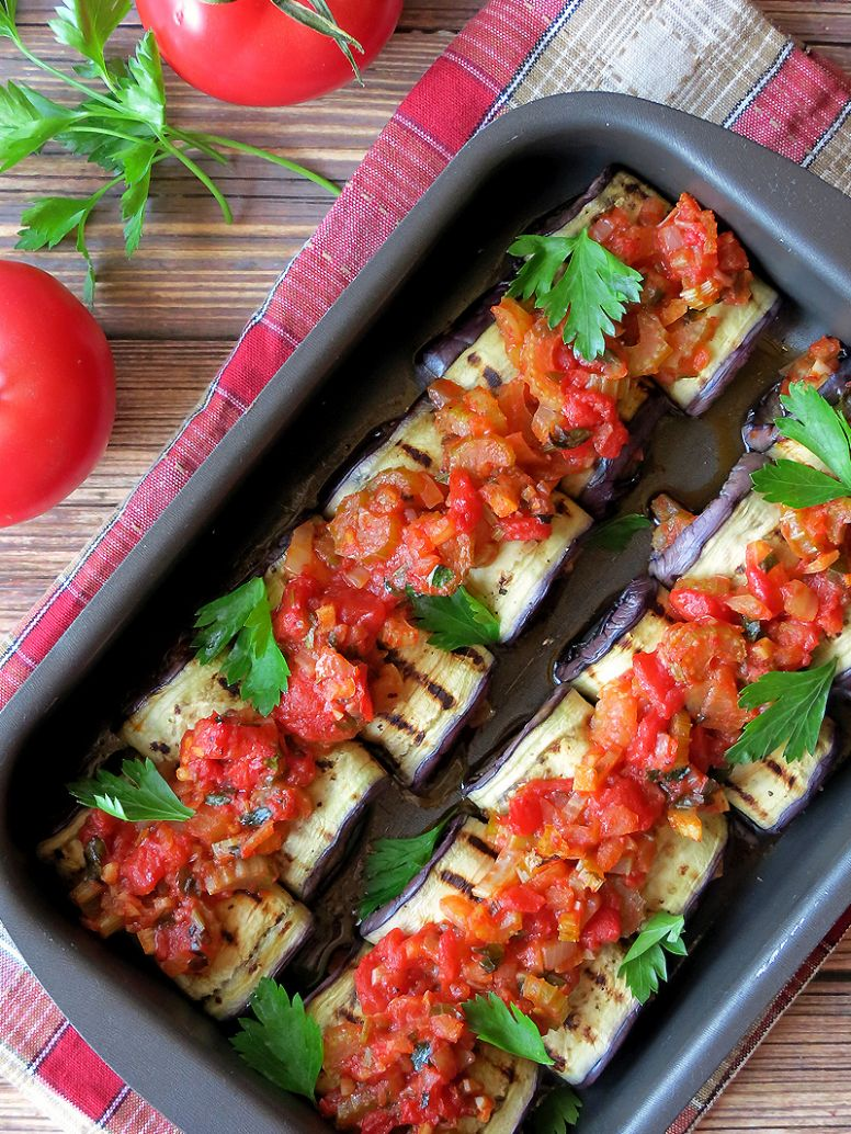 Vegetable Stuffed Eggplant Rollatini - Recipes Vegetables Only