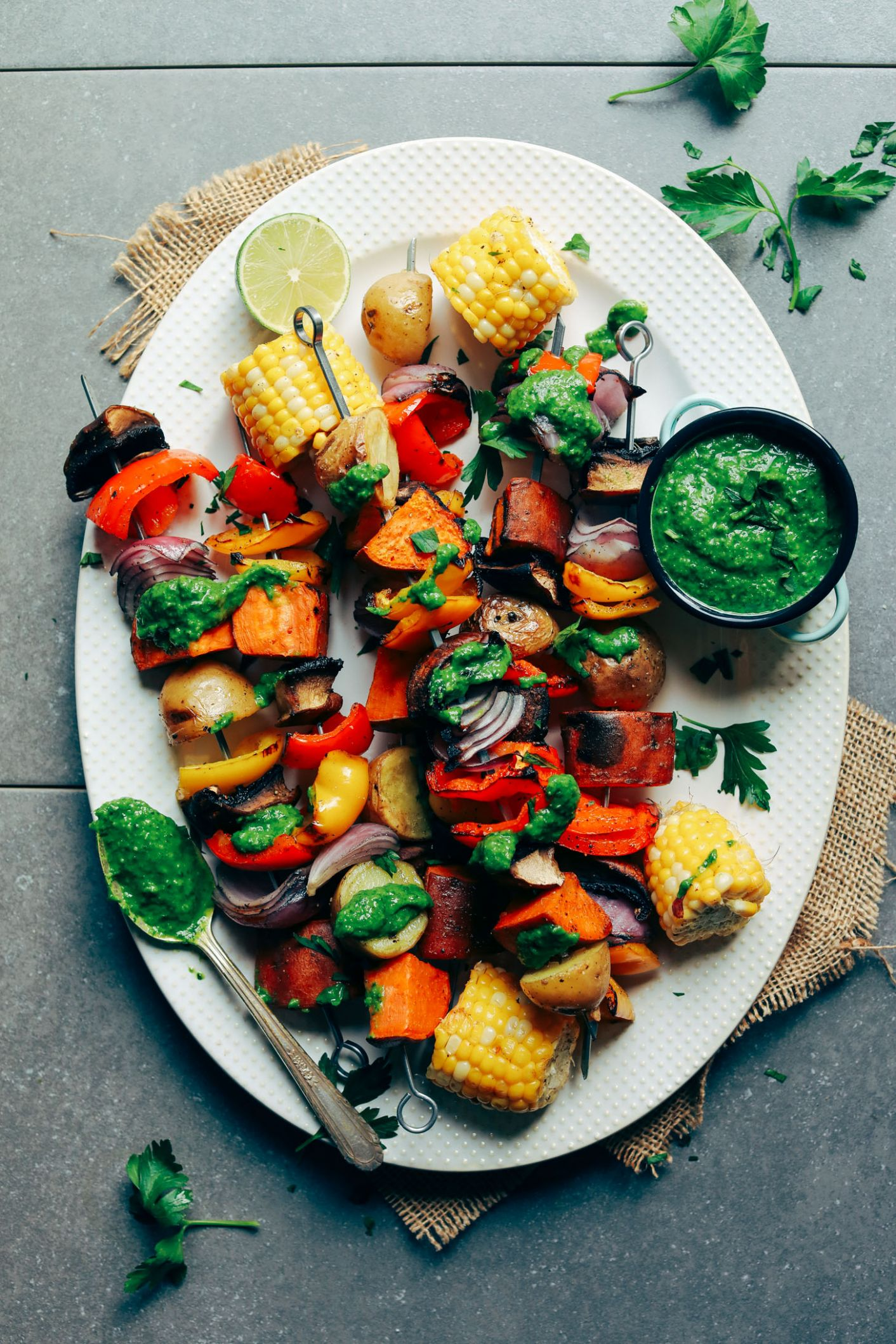 Veggie Skewers with Chimichurri Sauce - Summer Recipes On The Grill