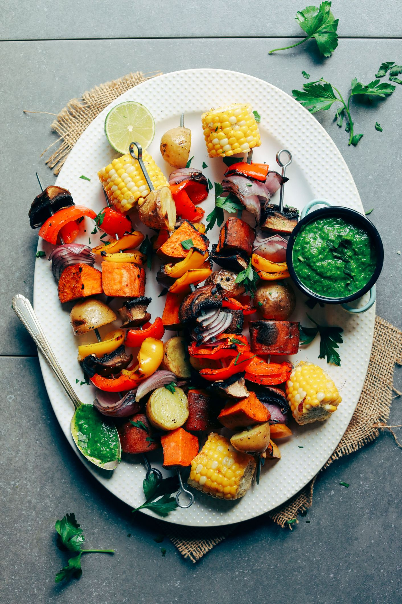 Veggie Skewers with Chimichurri Sauce - Vegetarian Recipes On The Grill