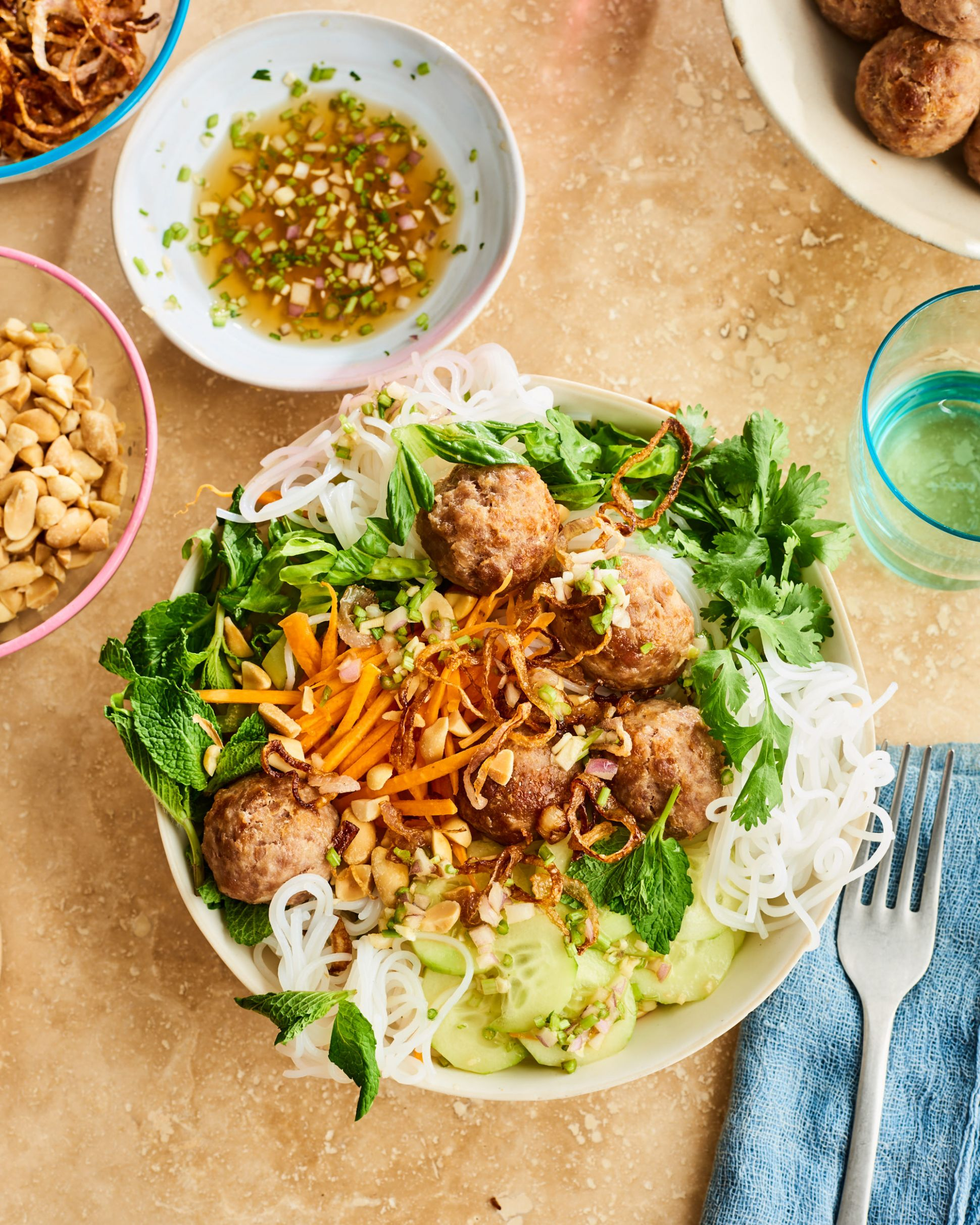 Vermicelli Noodles with Lemongrass Pork Meatballs - Recipe Pork Vermicelli
