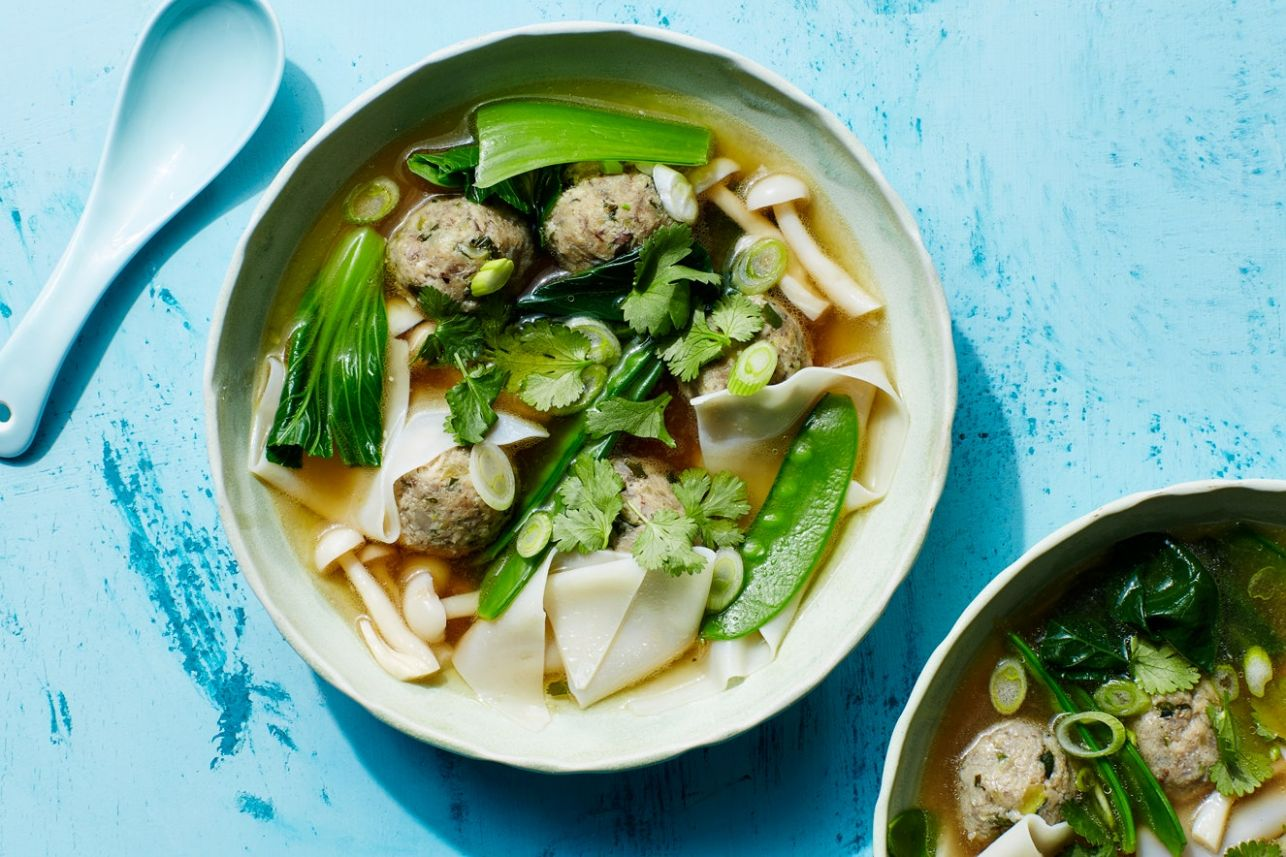 "Wonton Soup with Mushroom-Zucchini ""Meatballs"" - Soup Recipes Epicurious"