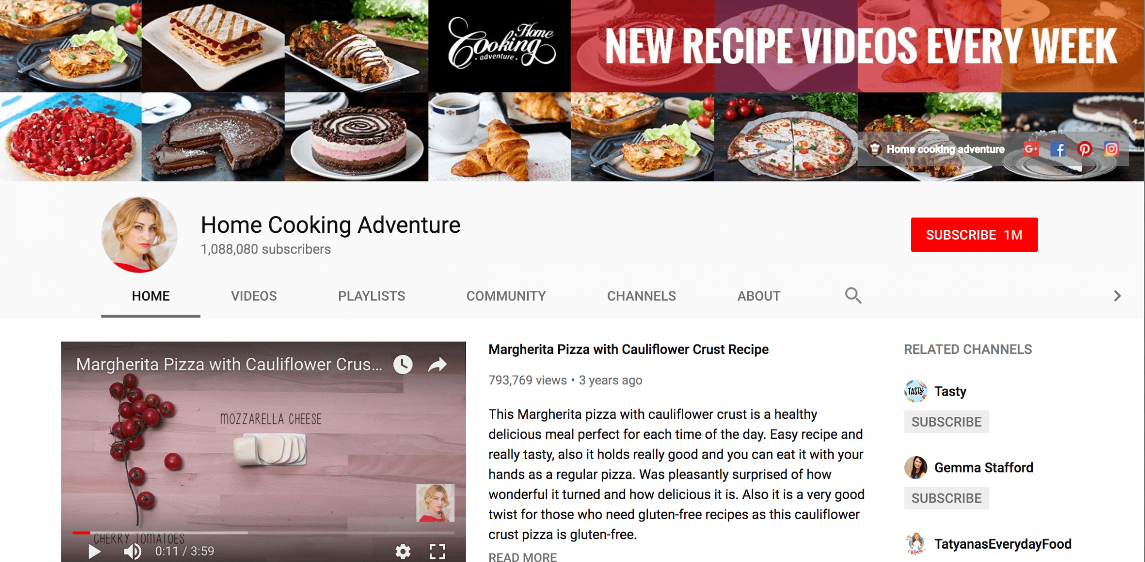 YouTube Channel Art - Food Recipes Youtube Channels