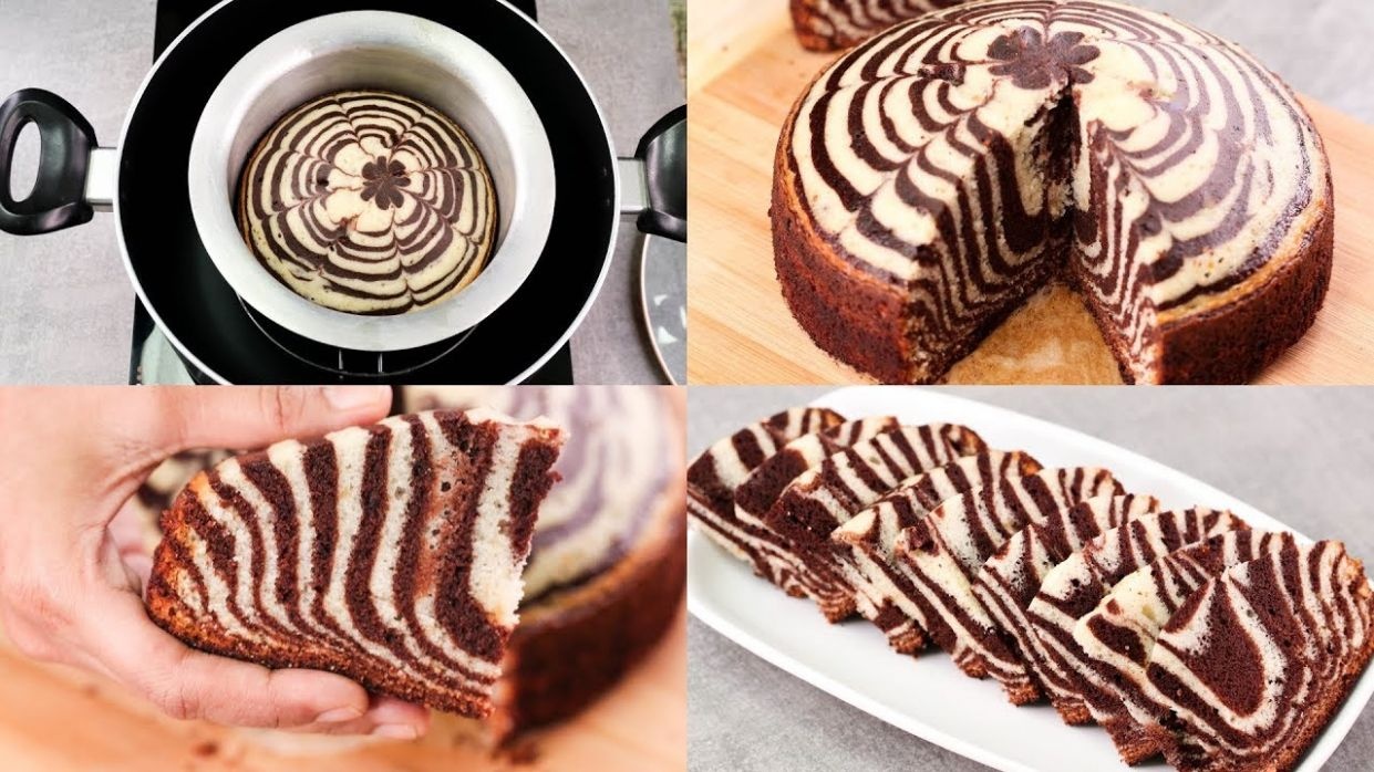 ZEBRA CAKE RECIPE IN REGULAR SAUCE PAN l CHOCOLATE & VANILLA CAKE l EGGLESS  & WITHOUT OVEN - Cake Recipes Zebra