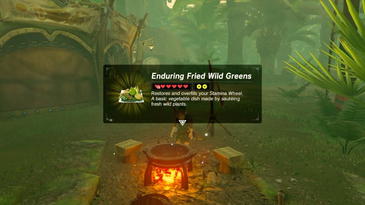 Zelda: BOTW (Best Stamina Recipe - Enduring Fried Wild Greens) - Cooking Recipes Botw