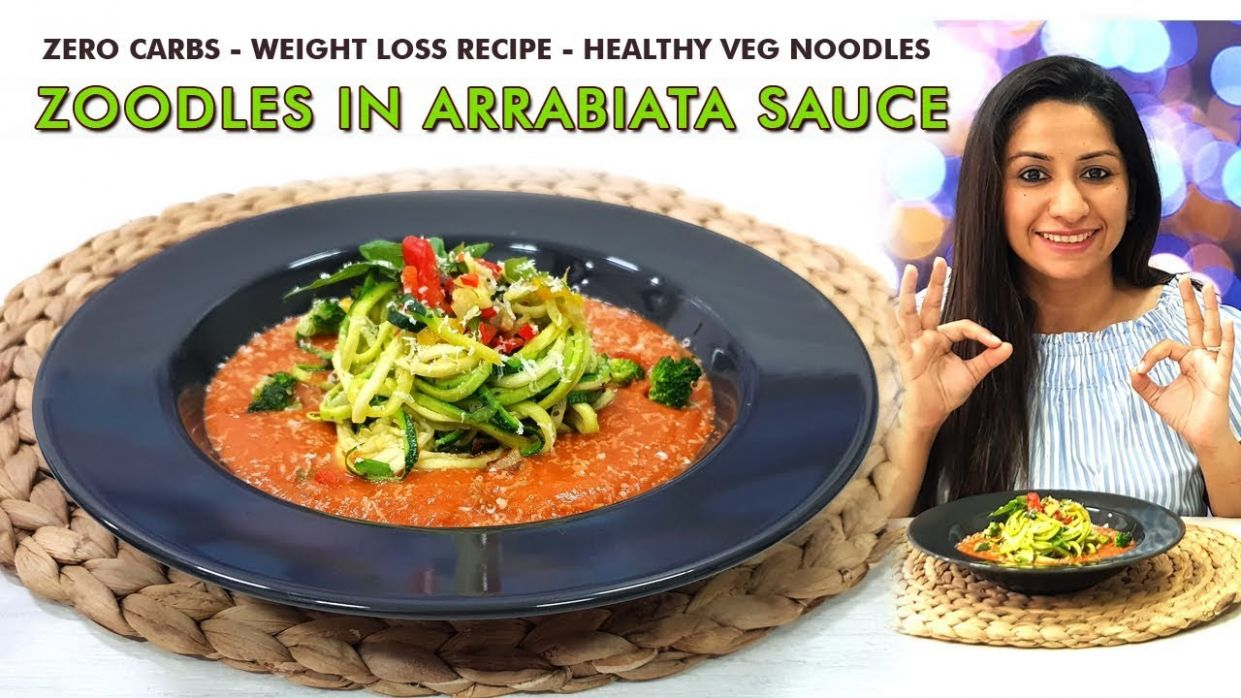 ZOODLES in Arrabiata Sauce - Zero Carb Meal - Weight loss Recipes - Zuchini  Pasta - Low Carb Dinner