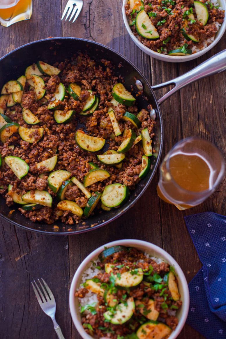 Zucchini Beef Skillet Recipe a One-Pot Paleo Dinner - Recipes With Ground Beef Zucchini And Rice
