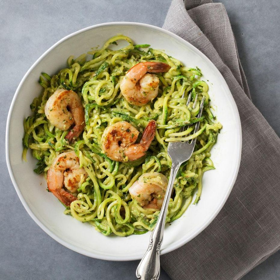 Zucchini Noodles with Avocado Pesto & Shrimp - Healthy Dinner Recipes Zucchini Noodles